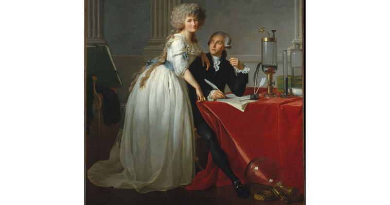 Antoine Lavoisier a jeho mladičká žena, na obraze už ale byla dospělá, zdroj: Wikipedia
